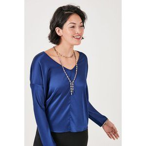 Stella & Dot Blue Satin Blouse